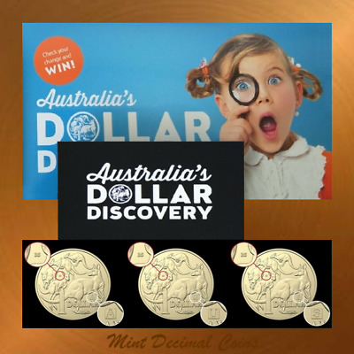 3 x 2019 Dollar Discovery $1 Coins ... A-U-S 35 Privy ... Registered Post ... #1