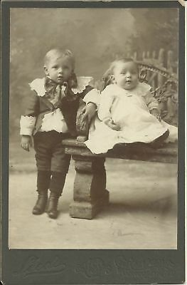 Old Antique Cabinet Card Photo Of Two Small Children By Leeds Brooklyn New York