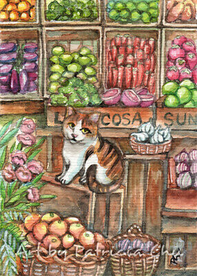 "ACEO LE Art Card Print 2.5x3.5"" "" Meow at the Market "" Cat Art by Patricia"