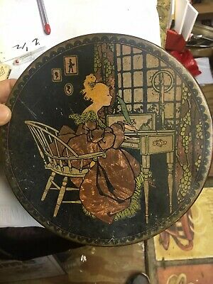 Vintage Sunlite Tindeco Tin Collectible Home Deco Victorian Woman at desk