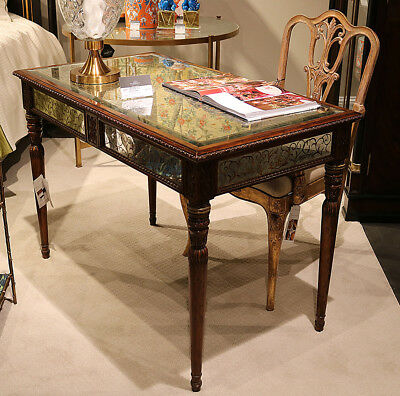 Reverse Painted Eglimose Carved walnut French Louis XVI Writing Desk Table WOW!