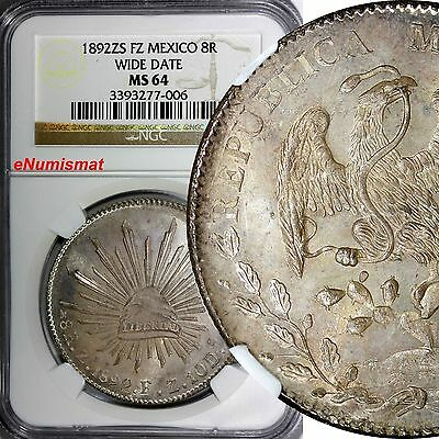 MEXICO REPUBLIC Silver 1892 ZS FZ 8 Reales NGC MS64 Zacatecas Wide Date KM377.13