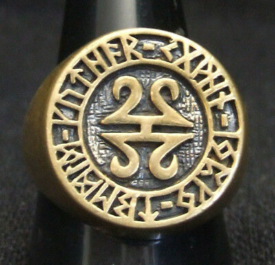 Bronze Celtic Runes Biker Ring Custom Size Runic alphabet Old Norse Viking R-83b