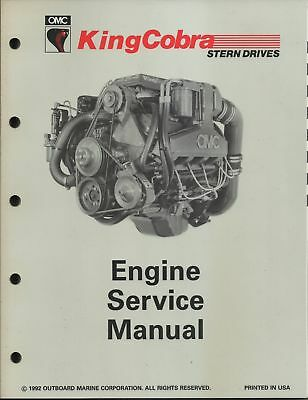 Omc Outboard Marine Corp. King Cobra 1992 Engine Service Manual Part No. 508291