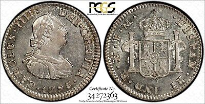 MEXICO SPANISH COLONY Charles IV SILVER 1798 MO FM 1/2 Real PCGS MS62 KM-72