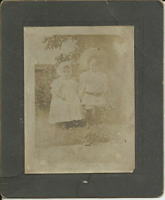 Old Antique Cabinet Card Photo Of Two Small Children Posing Outside
