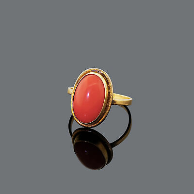 Vintage 18k 750 Gold Salmon Coral Ring Size 6 Stored For Decades Estate