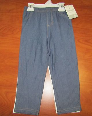 New Carters Girls 2 Pack Capri Leggings Blue Jean Look And White Sz 5 6 6X