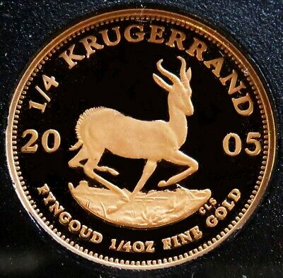 2005 Gold South Africa Proof 1/4 Oz Krugerrand Coin South African Mint Capsule