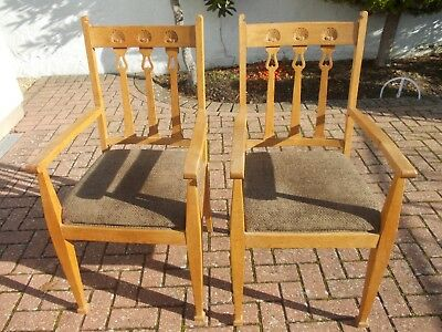 PAIR OAK ARTS AND CRAFTS ARMCHAIRS chair chairs SCALLOP SHELLS tulips hearts