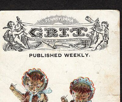 RARE Grit 1800's Business Card Best Family Paper Sewing Cat Victorian Trade Card