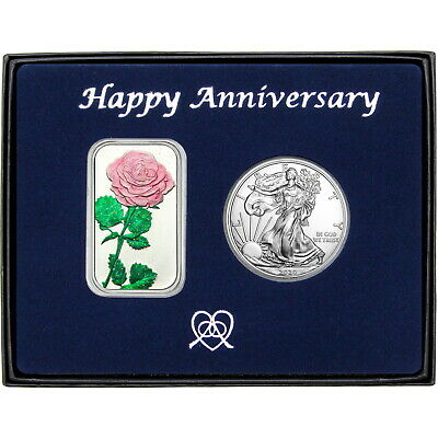 Happy Anniversary Pink Rose Enameled Silver Bar & Silver American Eagle 2pc Gift