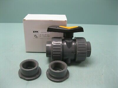 "2"" Parker UPVC Model MB1S32 Double Union Ball Valve SOC & THRD NEW Z99 (2492)"