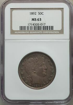 1892 US Silver 50C Barber Half Dollar - NGC MS63