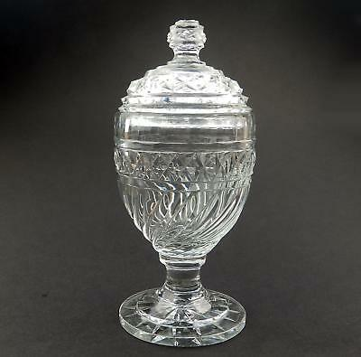 Antique Anglo - Irish Cut Glass Blown Glass : A fine Antique lidded Vase 19thC