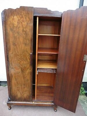 Quality Antique Art Deco Walnut Compactum Wardrobe, Linen Press, Fitted Interior