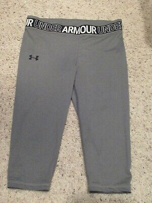 Under Armour Girls Capri Compression Leggings Pants Heatgear UPF 30 Black XL