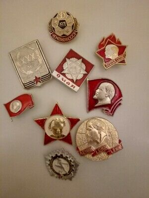 RUSSIAN SOVIET RED STAR AWARD MEDAL ORDER COMMUNIST INSIGNIA BADGE PIN and etc.