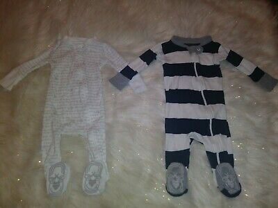 Burts Bees Baby Footed Sleepers Snug Fit Pajamas Rugby Striped Alphabet Bee 3-6m