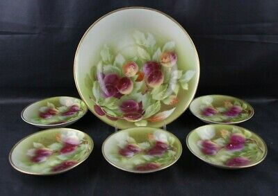Antique Weimer Berry Set Germany 7pc Plums Signed E. Greiner