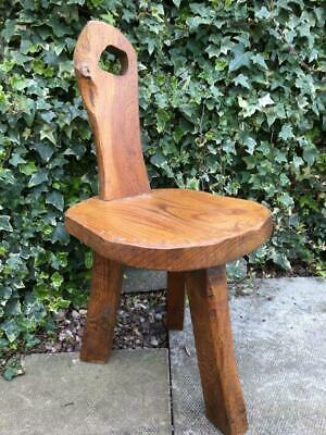 Antique Oak Stool Tripod 3 Legged Carved Wooden Country Cottagel Milking Stool
