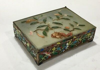 Chinese Celadon Jade Top Enameled Copper Box