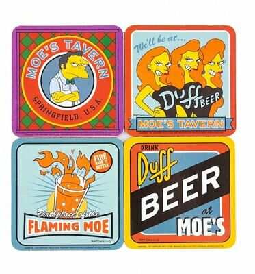 Official The Simpsons Moe's Tavern Set Of 4 Coasters