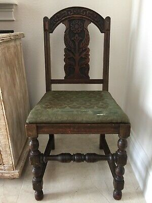 Antique Hand Carved Wood Chair 3D Straight Back Accent Chair Carved Spindle Legs