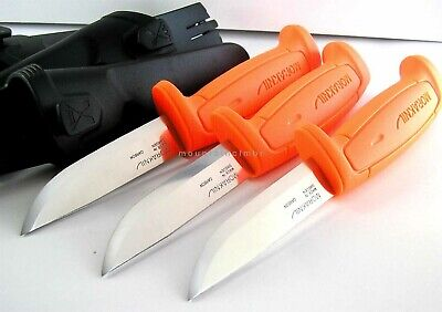 3 Pc Lot Mora Sweden Morakniv Basic 511 Skinner Carbon Steel Knife 511 ORANGE