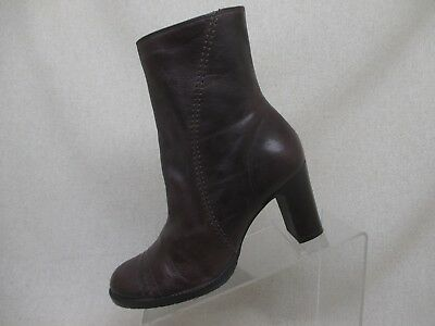 6a070e9360a GIANNI BINI BROWN Leather Zip High Heel Ankle Platform Boots Womens ...