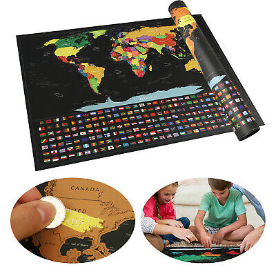 Travel Tracker Big Scratch Off 57x42cm World Map Poster Country Flags Log Gift