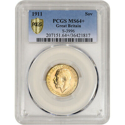 1911 Great Britain Gold Sovereign - PCGS MS64+  S-3996