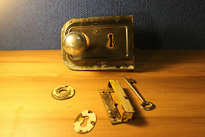 Antique Mortise Lock with key, keeper, chrome door knobs, keyhole cover & bezel