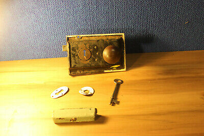 Antique Mortise Lock with key, keeper, steel door knobs, keyhole cover & bezel