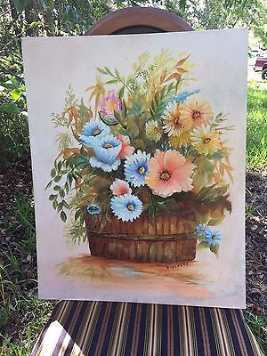 Gorgeous Folk Art Vintage Floral Oil Painting Flowers Country Farmhouse Basket