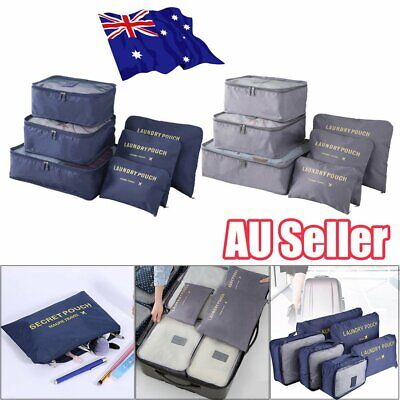 6Pcs Packing Travel Pouches Luggage Organiser Clothes Suitcase Storage Bag 4C