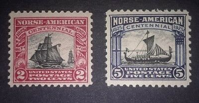 Travelstamps: 1925 US Stamps Scott #s 620 & 621, Norse-American, mint, og, moglh