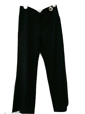 Tory Burch Women's Size 4 Wideleg Black Wool Blend Career Pants