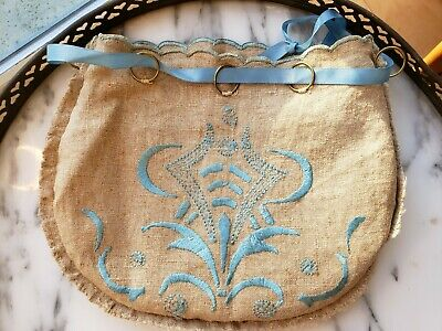 FINE Antique Silk Embroidered Flax LINEN Jewelry Lingerie Drawstring Bag  RINGS