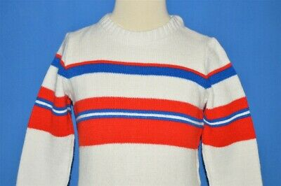 vintage 80s WHITE RED BLUE STRIPED ACRYLIC CREWNECK PULLOVER SWEATER TODDLER 4T