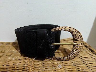 3a2f904d0 GUCCI BLACK CANVAS Leather Bamboo Belt 85 / 34 - Made In Italy ...