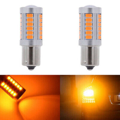 2X Amber 1156PY BAU15S PY21W LED 33SMD Car Tail Brake Lamp Reverse Signal Bulbs