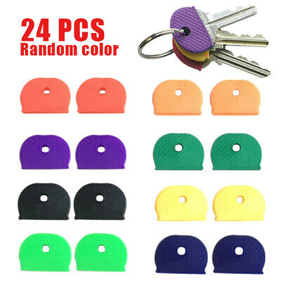 UK 24 PACK Rubber Coloured Key Top Cover Head/Caps/Tags/ID Markers MIXED TOPPERS