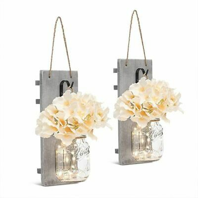 2PC Glass Jar Flowers Hanging Wood Board Wall LED Light Rustic Home Decor Hook