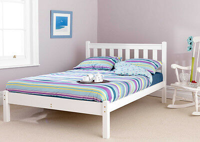 Solid Pine 3Ft Shaker White Low Foot End Bed Frame Mattress Extra