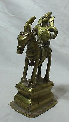 Indian Old Antique Unique Hand Carved Brass Horse With Lord Statue Collectible