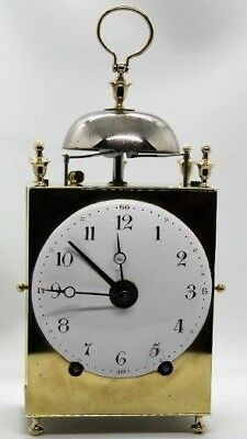 Antique French Capucine Carriage Officer's Travel Alarm Table Clock Pendulum