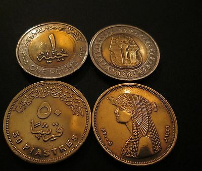 Egypt Set Of 2 Used Coins - 50 Piastres &1 Pound 2005 The First Version