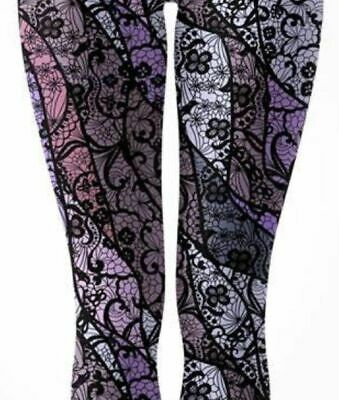 ff994798a4cc7a NWT TC Boho Black Lace Stained Glass Purple Patchwork Leggings CP Hippie  Gothic