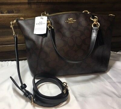 753c66a9503e8 NWT Coach F28989 Small Kelsey Satchel In Signature Canvas Brown Black